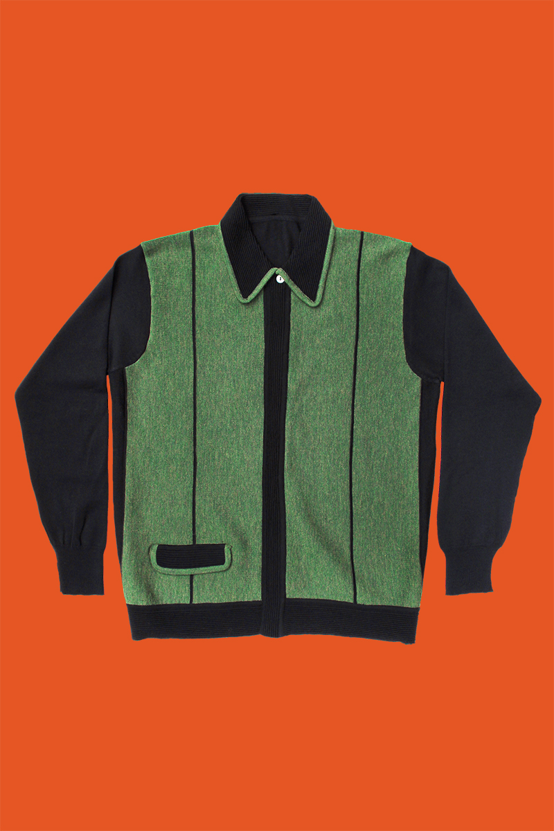 Black And Green Panelled Wool Knit Shirt Scott Fraser Collection
